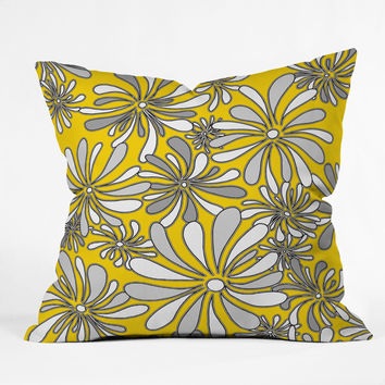 Madart Inc. Swirly Flower Gray And Yellow Throw Pillow