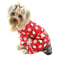 Penguins and Snowflakes Flannel Dog Pajamas by Klippo - Red at BaxterBoo