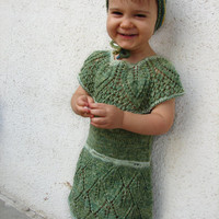 Green wool dress for girls 2-3 years, handknit with lace pattern, unique item