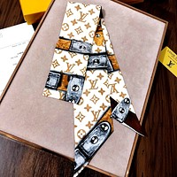 LV 2020 new simple full printed logo women's long small scarf