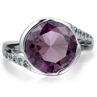 Sterling Silver 925 Flat Amethyst Cubic Zirconia CZ Solitaire Ring #r484