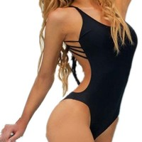 Womens Strappy Sexy One Piece Swimsuit Monokini Push up Padded Bikini (Asia M(US4), Black)