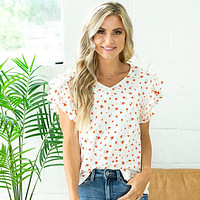 NEW! Emily Floral Ruffle Sleeve Top - Coral