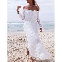 Lace stitching off-shoulder stitching trumpet sleeve dress beach skirt