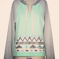 Mint Sequin Hoodie - Small