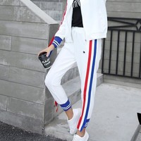 """""""Adidas"""" Women's Leisure  Fashion Letter Printing  ribbon Long Sleeve Trousers Two-Piece Casual Wear"""