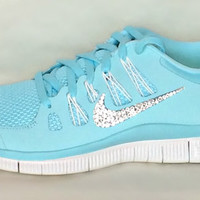 Nike Free Run 5.0 shoes Glacier Ice/Night Factor/Summit White with Swarovski crystals