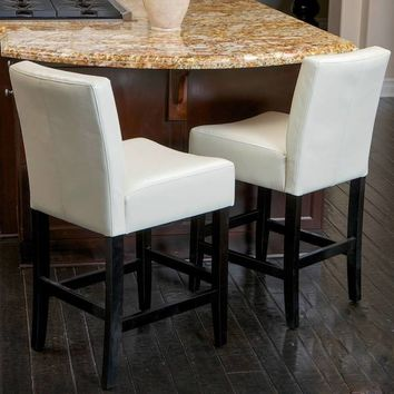 Lopez 26-inch Ivory Leather Counterstools (Set of 2) by Christopher Knight Home | Overstock.com Shopping - The Best Deals on Bar Stools