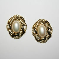 Trifari Vintage Earrings with Pearl and Rhinestones| FREE US Shipping