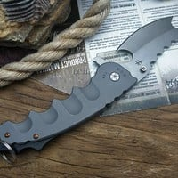 Tactical Razor Knife | Black | D2 Steel | Assisted Flip Action