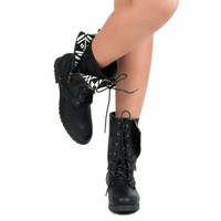 Qupid Wyatte-19 Vegan Tribal Zipper Military Lace Up Boot BLACK
