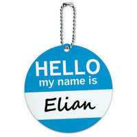 Elian Hello My Name Is Round ID Card Luggage Tag