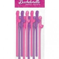 Bachelorette Party Favors Sipping Straws - Asst. Colors Pack of 10
