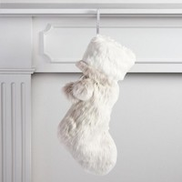 Gray and White Faux Fur Stocking