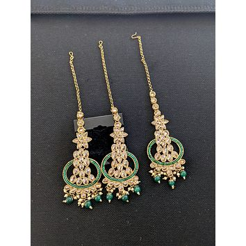 Mehandi gold polish Chandbali Maang Tikka and Earrings Combo