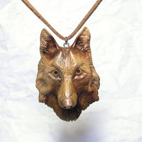 Wooden Wolf necklace Carved Wood animal Hyperrealistic art Shamanic Face Mens pendant necklace Wolf jewelry 5th Anniversary gift for him dad