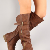 Slouchy Round Toe Riding Knee High Boot