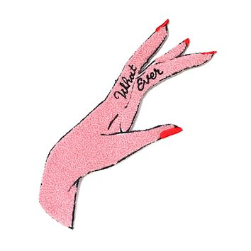 Whatever Hand Large Chenille Patch - Pink