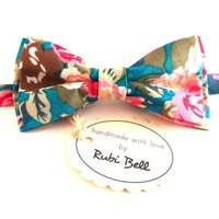 Bow Tie - floral bow tie - wedding bow tie - multicolored flower pattern - man bow tie - men bow tie