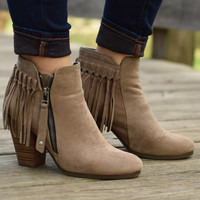 Fringe Fun Taupe Booties