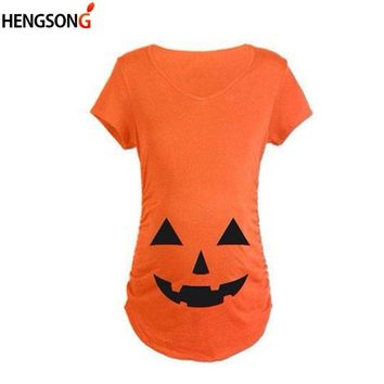 New Funny Women T-Shirt White Short Sleeve Plus Size 3XL Maternity T Shirts Halloween Pumpkin Printed T-shirt Female Tops Tees