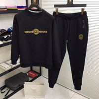 Versace Men and Women Fashion  Black Leisure Tracksuit Two Piece Suit Set