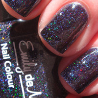 """Nail polish - """"Dark Crystal"""" micro holographic glitter in a black jelly base - new 12ml bottle"""