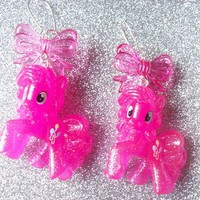 My Little Pony Super Pink Glitter Pinkie Pie and Bow Charm Earrings from On Secret Wings
