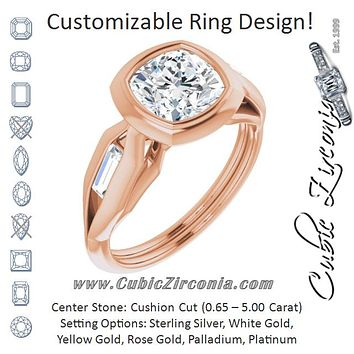 Cubic Zirconia Engagement Ring- The Claudelle (Customizable Bezel-set Cushion Cut Design with Wide Split Band & Tension-Channel Baguette Accents)
