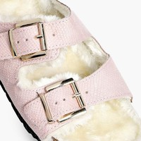 Emma Fur Lined Double Strap Slider | Boohoo