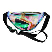 Designer laser hologram transparent waist packs casual travel waist bag waterproof PVC jelly bags small unisex hip bag 6colors