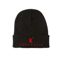 "Kollectiv ""K"" Unisex Knit Beanie 12"" Fold (Blk/Red)"