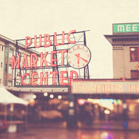 Seattle photography, travel photo, Pike Place Market, rainy day, red, rainbow bokeh, clock, time, urban city home decor, PNW