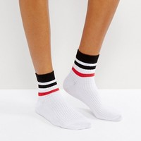 ASOS Stripe Rib Ankle Socks in White with Multi Stripe at asos.com
