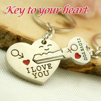 """2pcs Couples Lovers Metal Key Chain Ring """"Key To My Heart"""" I LOVE YOU Silver = 1930036804"""