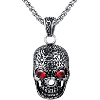 Stainless Steel Gothic Skull W. Red Crystal Eyes Pendant Necklace