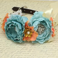 Blue coral Gold flower dog collar, Flower rhinestone beaded dog collar, leather dog collar, dog of honor, some thing blue,dog ring bearer , Wedding dog collar