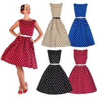 dress 50'S 60'S ROCKABILLY DRESS Vintage Style Swing Pinup Retro Housewife Party [9222222788]