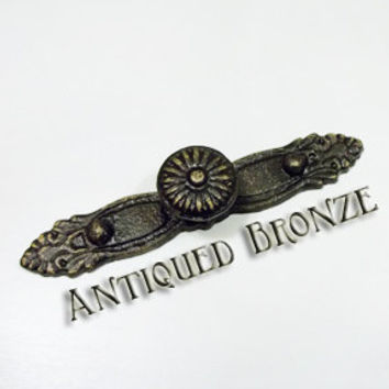 Decorative Knob with backplate, Bronze, Sturdy Cast Iron, French Country, Cottage, Antique Inspired, Shabby Chic, Victorian