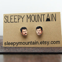 Ron Swanson Earrings - Parks and Recreation Studs