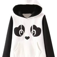 Agatha Garcia Women Long Sleeves Lovable Panda Pattern Hoodie