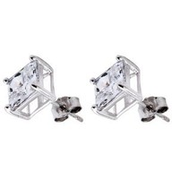 Pure .925 Sterling Silver Princess Cut Stud Earrings 5 Mm. Each Stone 1.5 Carats Total Weight Comes in a Gift Box & Special Pouch: Jewelry: Amazon.com