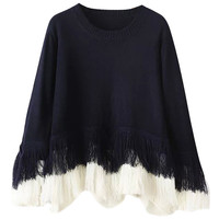 Color Block Fringed Batwing Sleeve Knit Sweater