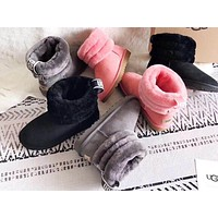 UGG fashion casual women's boots are selling solid color and cashmere short boots with woven belt