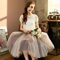Women's Fashion 2015 new summer lotus flower burning collar short T-shirt+yarn Georgette gauze tutu skirt suit = 1753645124