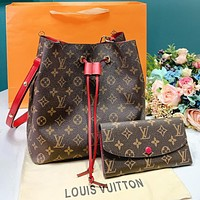 LV Louis Vuitton Fashion Women Shopping Leather Bucket Bag Shoulder Bag Wallet Purse Set Two-Piece