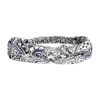 H&M - Patterned Hairband - White/Blue - Ladies