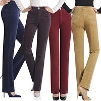 Autumn and winter female corduroy trousers high waist pants corduroy casual plus size elastic loose straight pants long trousers