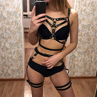 Leather Belt Harness Sex Toys For Women Adult Game Outfit Bra And Leg Suspenders Straps Garter Erotic Set