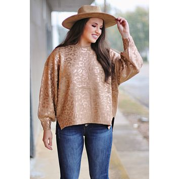 Metallic Leopard Print Knit Sweater {Taupe/Gold}